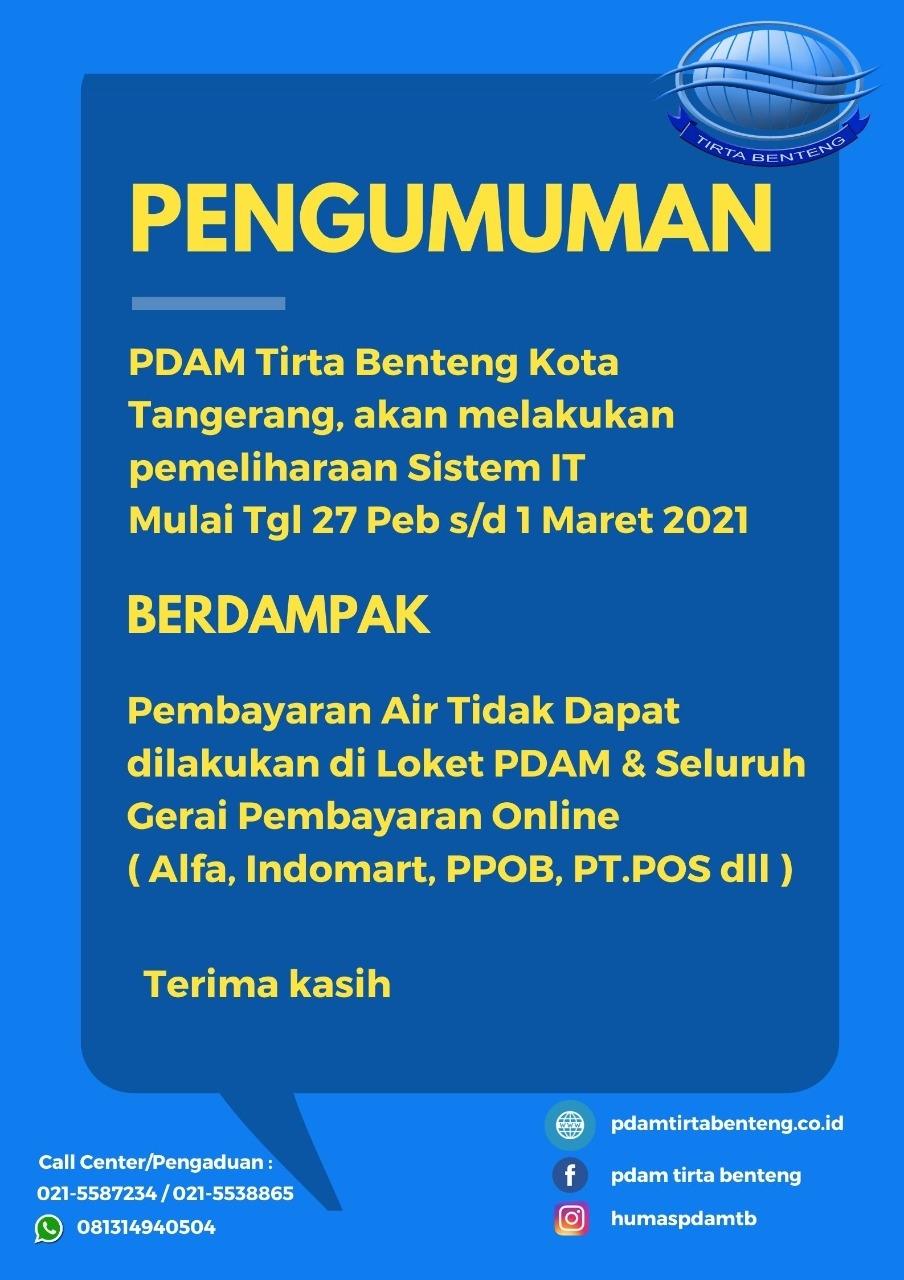 Pengumuman PDAM TB Kota Tangerang