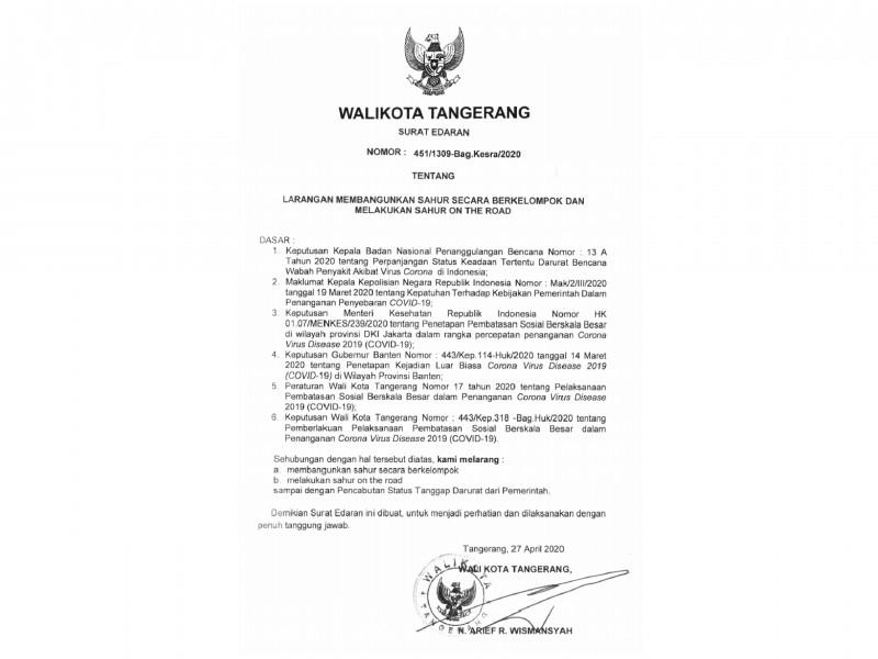 Pemkot Tangerang Terbitkan Surat Larangan SOTR di Masa PSBB